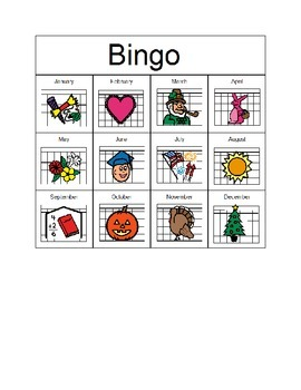 Months of the year Bingo cards