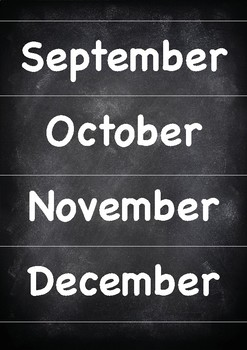 Months of the year Chalkboard theme