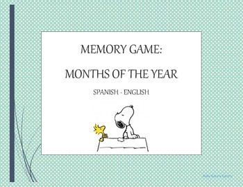 Months of the year Memory game Spanish-English