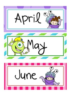 Months of the year Monsters themed