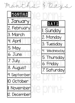 Months of the year and Days of the week