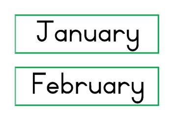 Months of the year flash cards