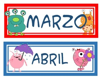 Months of the year in Spanish monster theme