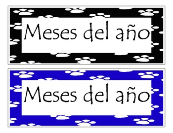 Months of the year in Spanish with paw print border