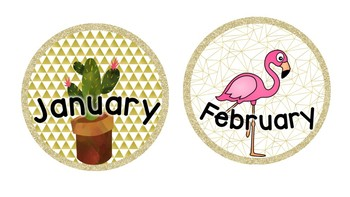 Months of the year labels - Cactus, Watermelon & Flamingo