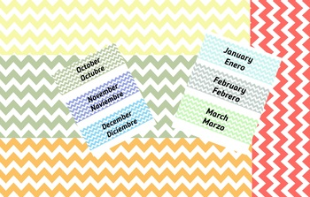 Months of the year labels in chevron, two languages