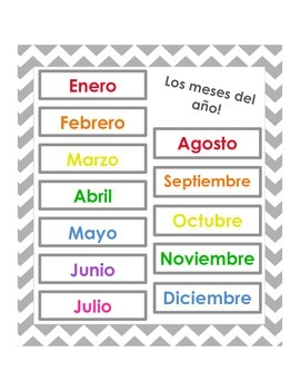Months of the year list - English & Spanish