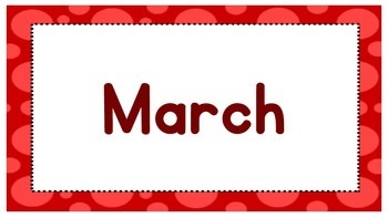 Months of the year polka dot border