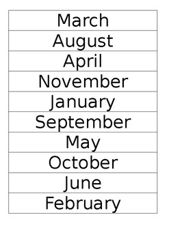Months of the year sort