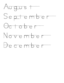 Months of the year tracing pages