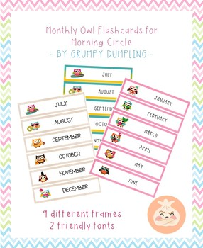 Months with owls - flashcads for circle time