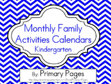 2016-2017 Monthy Collaborative Homework Calendars- Chevron Theme