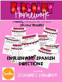 Monthy Homework English AND Spanish Set - February (Editable)