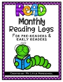 Monthy Reading Logs for Early Readers in Preschool, Pre-K,