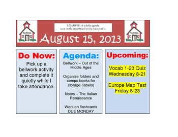 Monthly Themed Daily Agenda Templates for Smartboard - EDITABLE