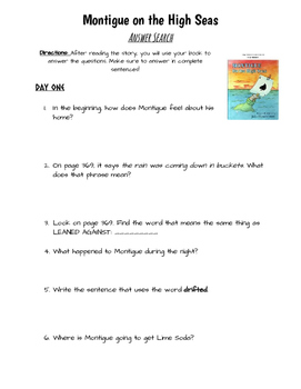 Montigue on the High Seas- Study Guide