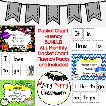 Monthly Pocket Chart Fluency Bundle