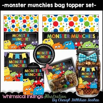 Monster Munchies Bag Topper/Jar Label Set