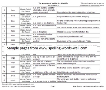 Monumental Spelling Bee Word List for Grades 3-4