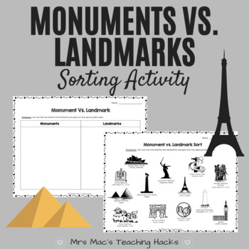 Monuments vs. Landscapes Sorting Activity