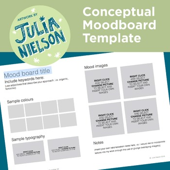Mood Board Template | Mood Board Template Word Doc By Julia Nielson Tpt