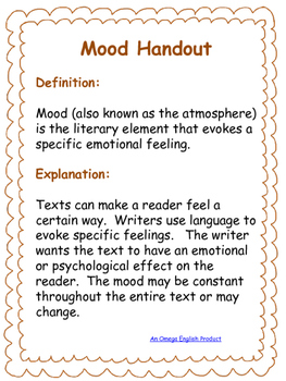 Mood Bundle: Handout, Graphic Organizers, and Original Stories