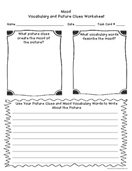 Character Setting Mood Picture Task Cards