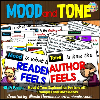 Mood and Tone Posters with Explanations, Examples and Word Cards