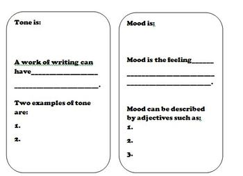 Mood, Tone, and Irony Graphic Organizer