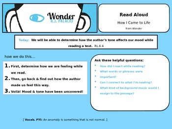 Mood & Tone using word choice in Wonder by R.J. Palacio