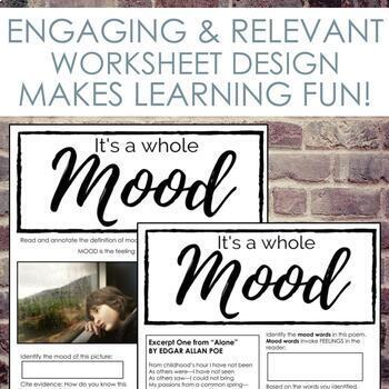 Distance Learning Mood Worksheet for Secondary ELA
