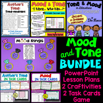 Teach students to identify the author's tone and the mood of a story by using this bundle of engaging activities!