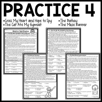 Mood and Tone Practice Package Middle School ELA Test Prep, Selections