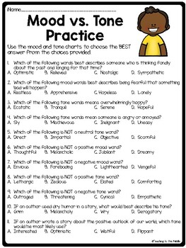 Mood and Tone Practice, Set 3, Middle School ELA Test Prep, Selections