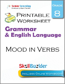 Mood in Verbs Printable Worksheet, Grade 8