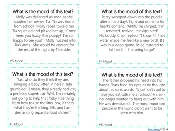 Mood of Texts Task Cards {with PHOTOS for differentiation}
