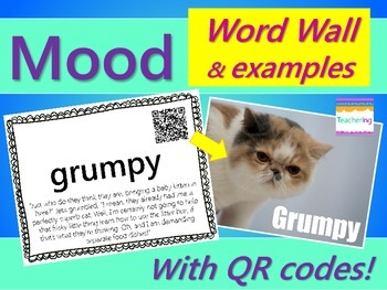 Mood Word Wall {with QR Codes & Example Passages}