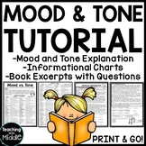 Mood vs. Tone Tutorial Reading Comprehension Worksheet, Mi