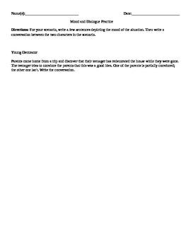 Mood/Dialogue Worksheets