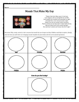 Moods That Make My Day: How Do You Feel Today? worksheet