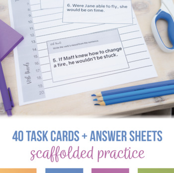 Moods in Verbs Task Cards and Writing Activity