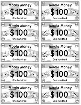 Moola Money - Rewards/Classroom Money/Incentives/Cow/CountryTheme