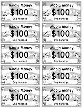 Moola Money - Classroom Money Rewards System/Incentives/Cow/CountryTheme