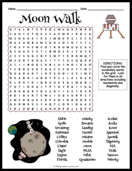 Astronomy Unit Supplement: MOON WALK WORD SEARCH