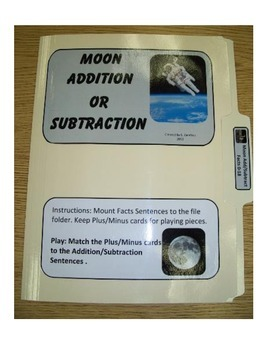 Moon Addition and Subtraction Facts 0-18: File Folder Activity
