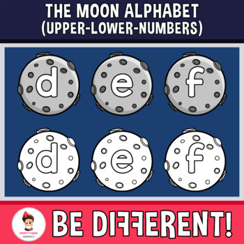 Moon Alphabet Clipart Letters ENG.-SPAN. (Upper-Lower-Numb.)
