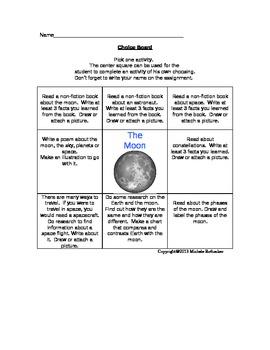 Moon Choice Board