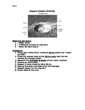 Moon Crater Lab & Data Sheet