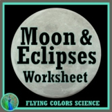 Moon Phases Eclipses Worksheet (middle school) NGSS MS-ESS1-1 MS-ESS1-2
