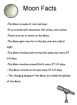 Moon Facts Reference Sheet